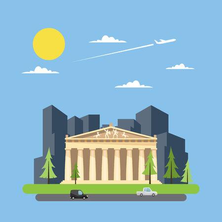 Flache Bauweise des Parthenon Griechische Illustration Vektor