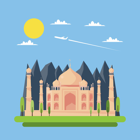taj: Flat design of Taj Mahal illustration vector