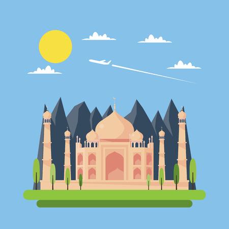Flat design of Taj Mahal illustration vector