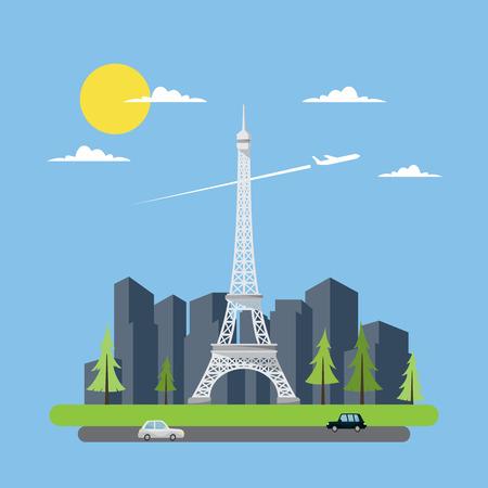 ilustracion: Dise�o plano de la torre Eiffel ilustraci�n vectorial