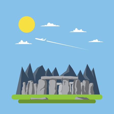 stonehenge: Flat design of stonehenge England illustration vector