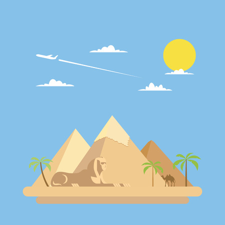egypt: Flat design of pyramids Giza illustration vector Illustration