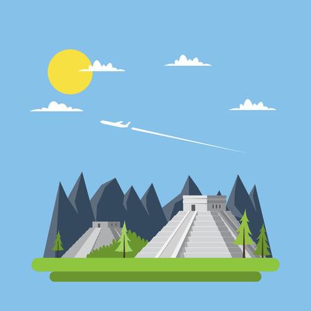 cultura maya: Dise�o plano de Chich�n Itz� M�xico vector illustraion Vectores