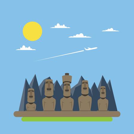 moai: Diseño plano de Moei estatuas ilustración vectorial