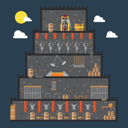 trono: Diseño plano del interior del castillo dungeon ilustración vectorial Vectores