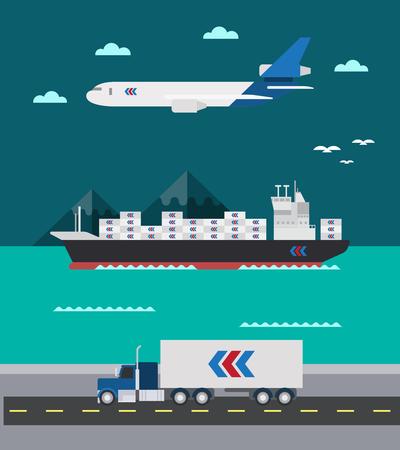 はしけ: 貨物輸送海空気土地図ベクトルのフラットなデザイン