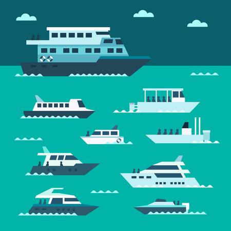 Flat design of boat set illustration vector Çizim