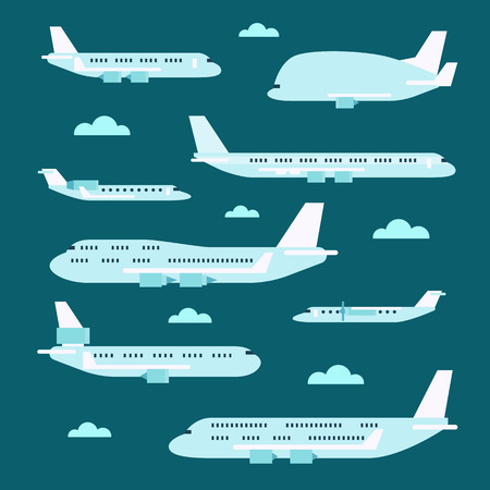 airbus: Flat design of airplane set illustration vector Illustration