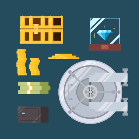 Platte ontwerp van contant geld en waardevolle veilig illustratie vector
