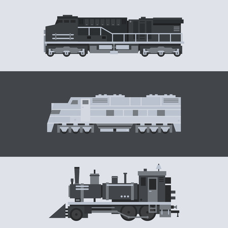 wagon wheel: Flat design of train locomotive set illustration vector