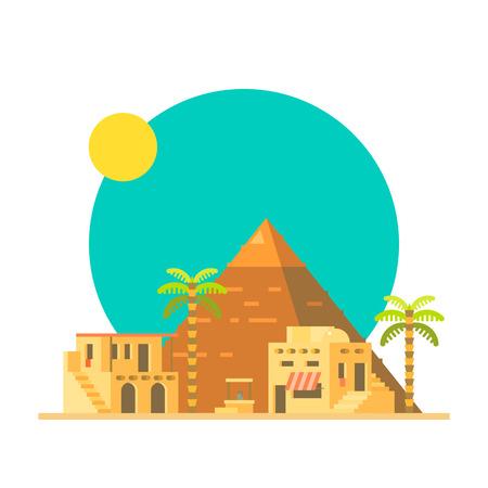 이집트 그림 벡터 기자의 대 피라미드의 플랫 디자인 일러스트