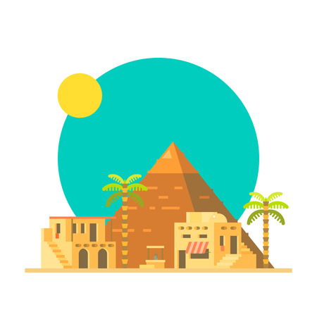 desert oasis: Flat design of Great pyramid of Giza in Egypt illustration vector