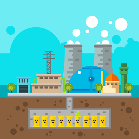 nuclear waste: Nuclear plant and nuclear waste underground Flat design illustration vector