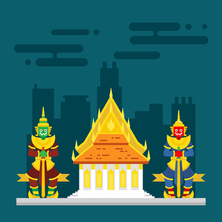 bangkok city: Thailand temple with two giants guarding illustration vector