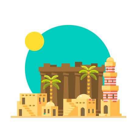 이집트에서 Karnak 유적의 평면 디자인 일러스트 벡터 일러스트