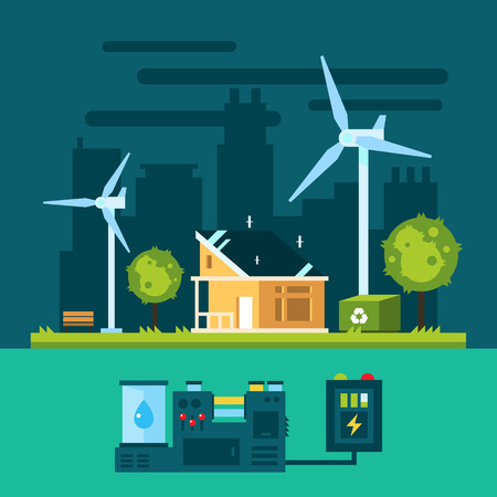 Eco house in urban scene with green energy illustration vector