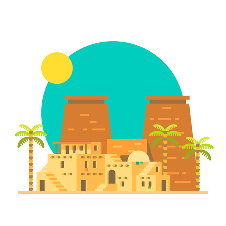 egypt: Flat design of Thebes Luxor temple in Egypt illustration vector