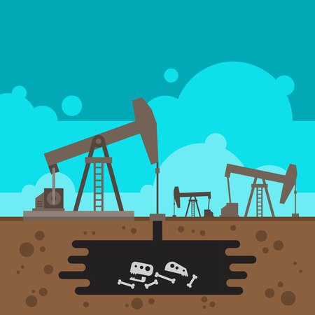 Oil well drilling with fossil underground illustration vector Illustration