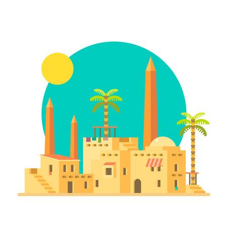 Diseño plano de la aldea de casas de barro con la ilustración vectorial obelisco