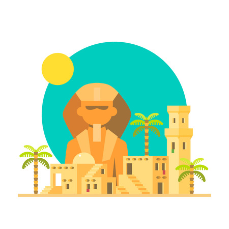 sphinx: Flat design of Sphinx Giza with village illustration vector