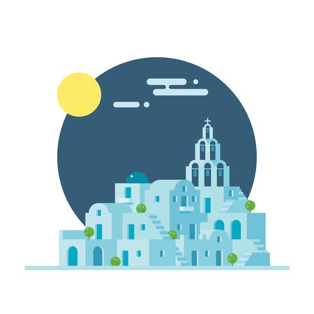 greek islands: Flat design of Santorini Greece village illustration vector Illustration