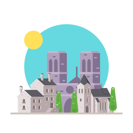 notre: Flat design of Notre Dame France with village illustration vector Illustration