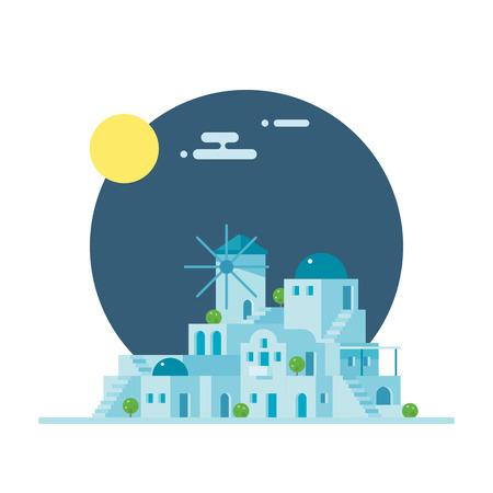 santorini: Flat design of Santorini Greece village illustration vector Illustration