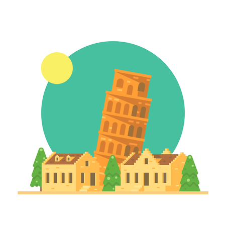 leaning tower: Flat design of the leaning tower of Pisa Italy with village illustration vector
