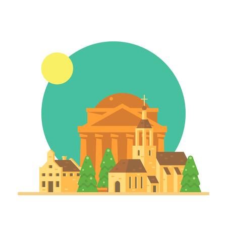 pantheon: Flat design of Pantheon Italy with village illustration vector Illustration