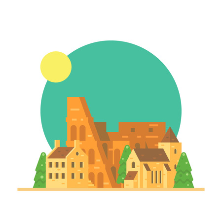 Flat design of Colloseum Italy with village illustration vector