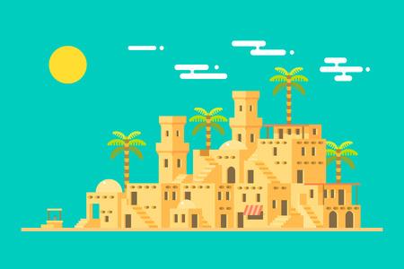 Village désert Moyen-Orient ville de briques de boue, illustrations vecteur