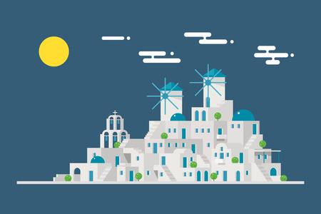 molino viento: Paisaje urbano Santorini pueblo isla molino de viento ilustración vectorial