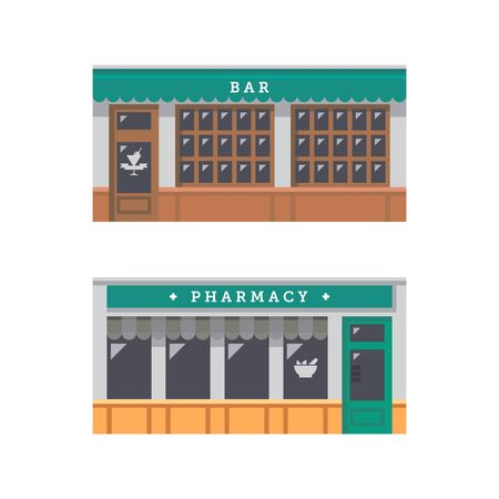 pharmacy store: Shop front facade flat design illustration vector