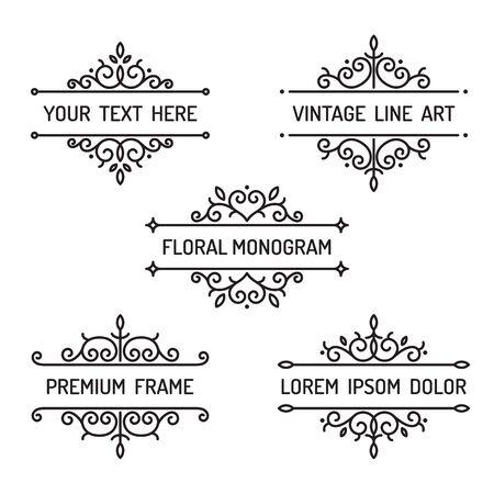 art frame: Vintage floral line art frame illustration vector