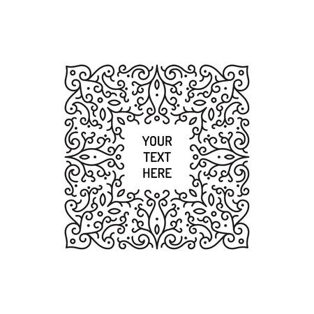 illustration line art: Vintage floral line art frame illustration vector