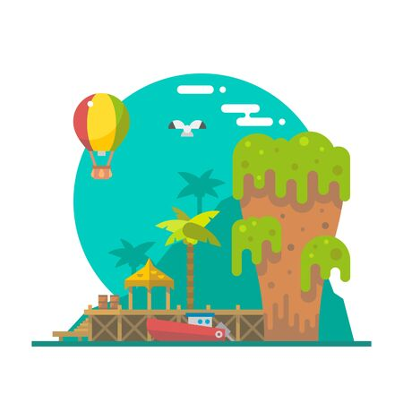 national parks: Flat design of Tapu island at Phang nga, Thailand illustration vector