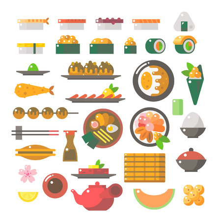 ramen: Flat design of sushi dishes set illustration vector