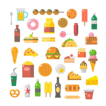 food and beverage: Flat design of junk food set illustration vector