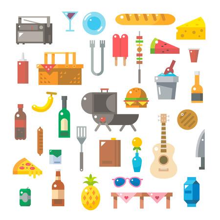 canastas de frutas: Dise�o plano de art�culos de picnic establecer ilustraci�n vectorial