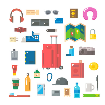 Flat design of travel items set illustration vector