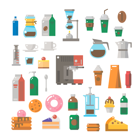 Flat design of coffee shop items set illustration vector