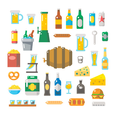 Flat design of beer items set illustration vector Illustration