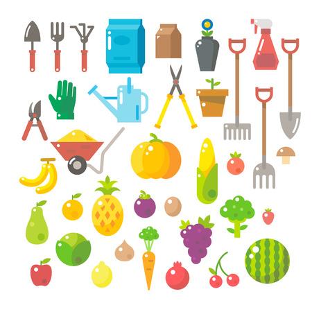 crop sprayer: Flat design of garden tools set illustration vector