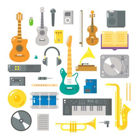 음악 악기의 평면 디자인 일러스트 벡터 설정