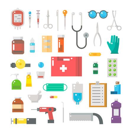 의료 장비의 플랫 디자인은 그림 벡터 설정 일러스트