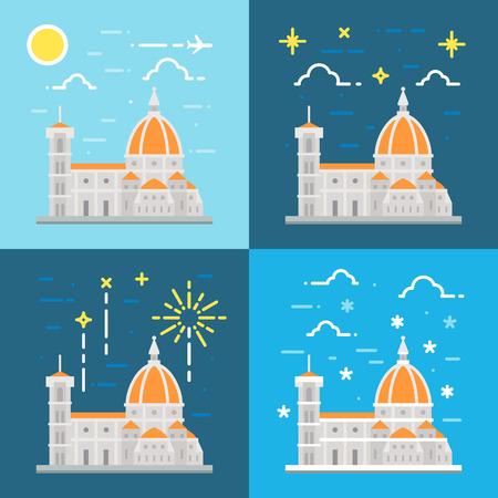 florence italy: Design piatto della cattedrale di Firenze Italia illustrazione vettoriale Vettoriali