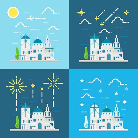 santorini greece: Flat design 4 styles of Santorini village Greece illustration vector