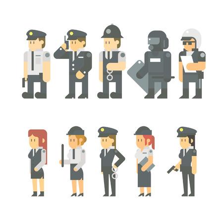 경찰 설정 그림 벡터의 플랫 디자인