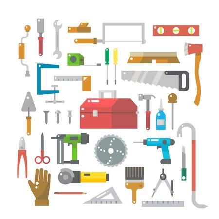 crowbar: Flat design of wood work items set illustration vector