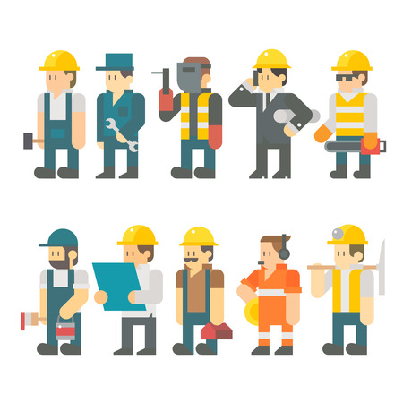 Flat design of construction worker set illustration vector Çizim